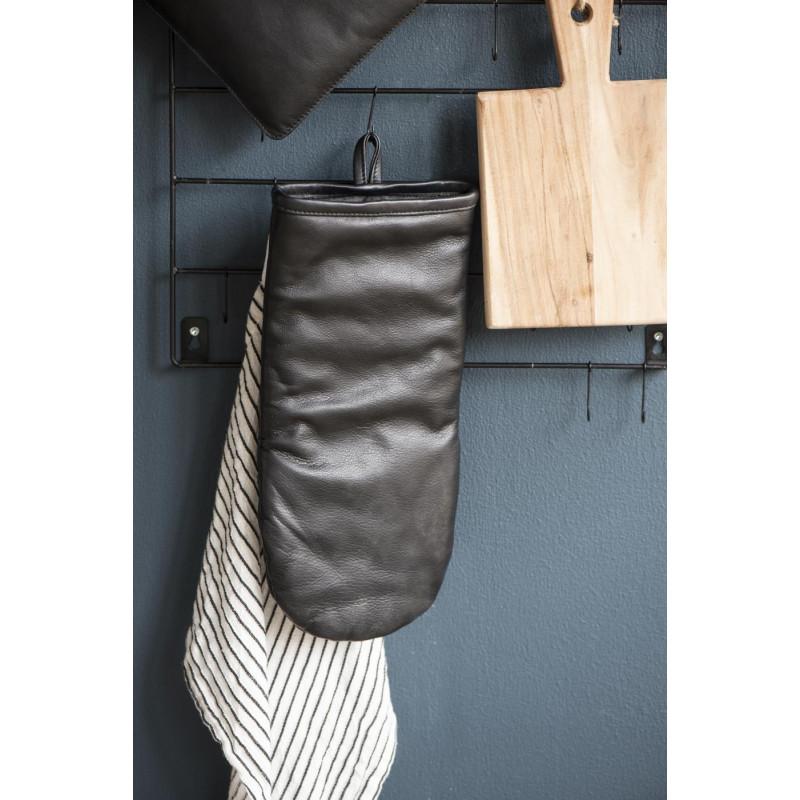 IB Laursen BBQ Grillhandschuh Leder schwarz recycled leather Ofenhandschuh