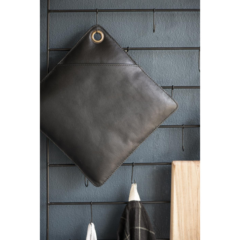 IB Laursen BBQ Topflappen Leder schwarz 20x20 cm recycled leather