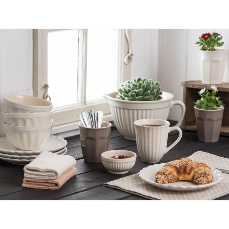 IB Laursen Becher mit Rillen Cafe Latte Teller Schale Rührschüssel Müslischale creme weiß Mynte Butter Cream