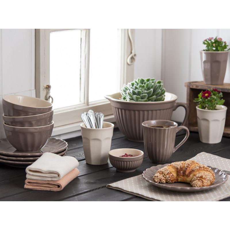 IB Laursen Becher mit Rillen Cafe Latte Teller Schale Rührschüssel Müslischale hellbraun Mynte Milky Brown