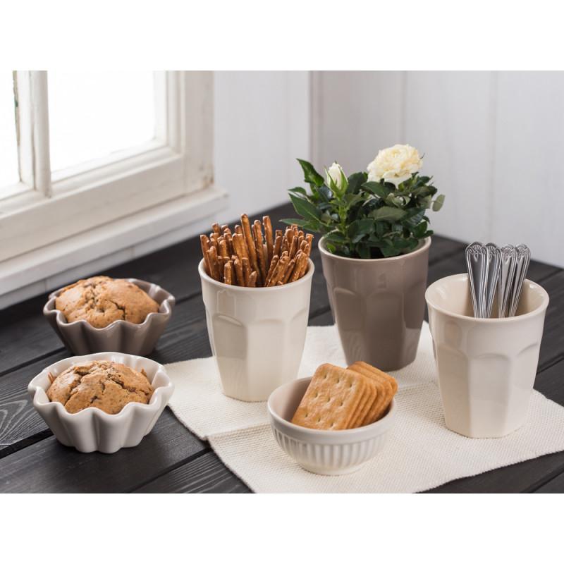 IB Laursen Cafe Latte Becher Muffinschale Schalensatz Mini creme weiß hellbraun Mynte Butter Cream Milky Brown