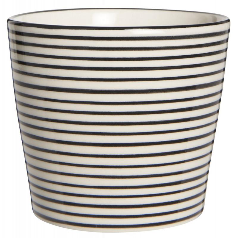 IB Laursen Casablanca Becher klein mit Streifen weiß schwarz