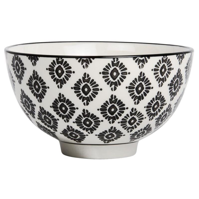 IB Laursen Casablanca Schale klein schwarz weiß Blumen Muster