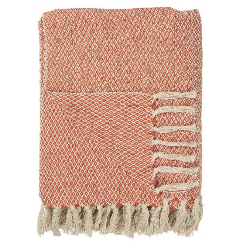 IB Laursen Decke Orange Creme aus Baumwolle Plaid 130x160 cm mit Fransen