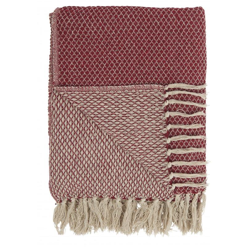 IB Laursen Decke Rot Creme aus Baumwolle Plaid 130x160 cm