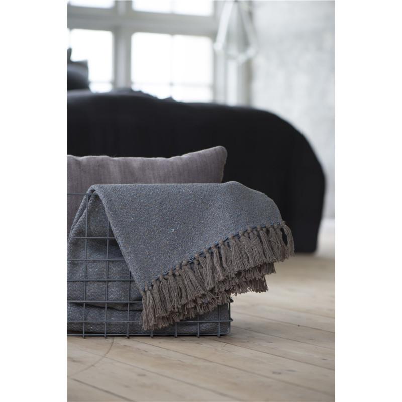 wolldecke mit fransen blau braun von ib laursen. Black Bedroom Furniture Sets. Home Design Ideas