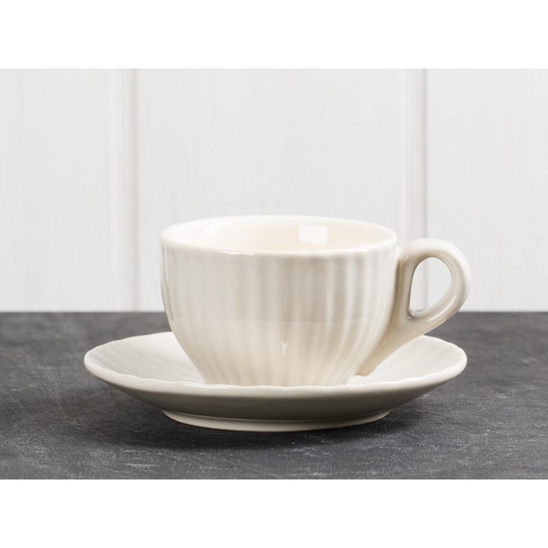 IB Laursen Espresso Tasse Mynte Beige mit Untertasse aus Keramik Latte skandinavisch