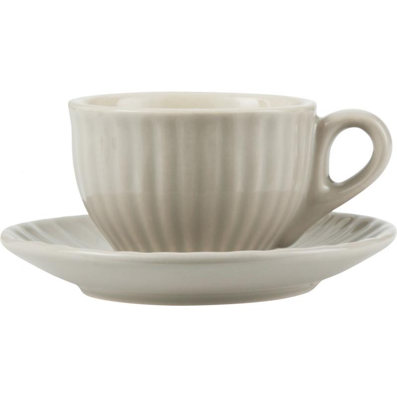 IB Laursen Espresso Tasse Mynte mit Untertasse Latte beige aus Keramik