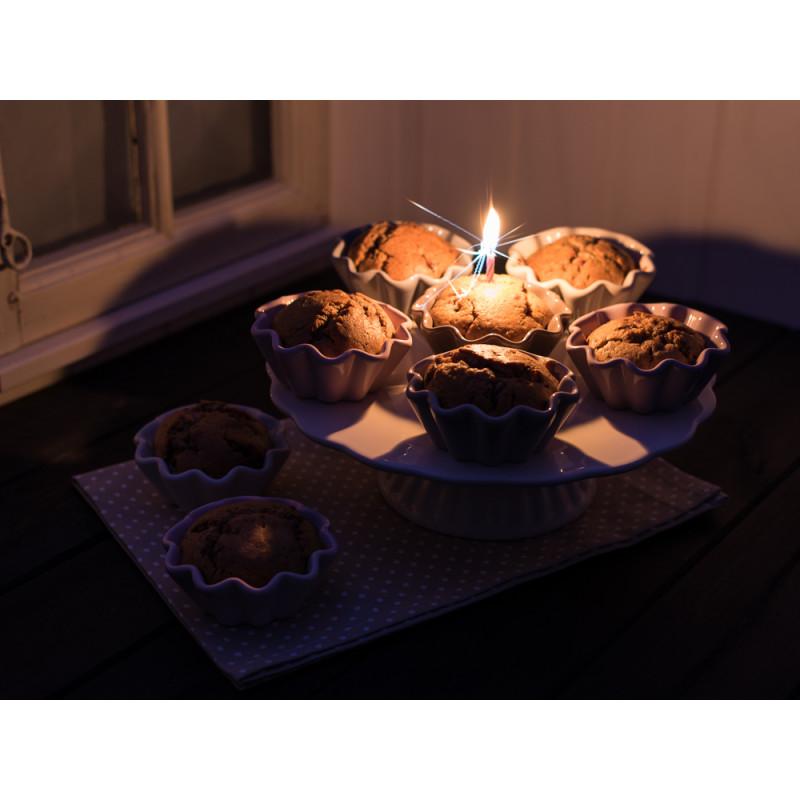 IB Laursen Geburtstagstorte Tortenplatte Muffinschale Mynte mit Kerze