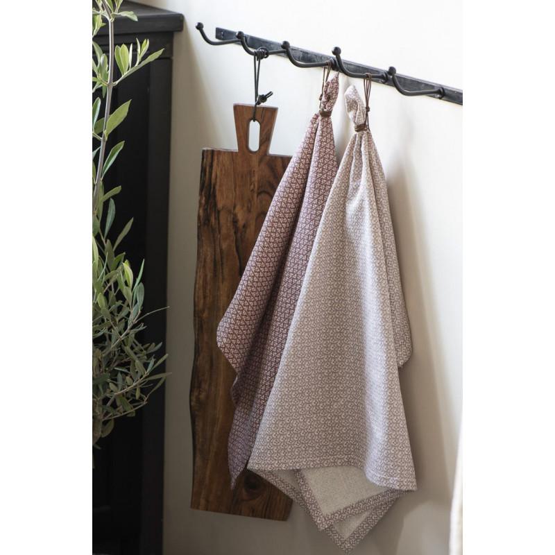 IB Laursen Geschirrtuch Desert Rose mit Muster Weiss 50x70 cm aus Baumwolle für den Hygge Style in der Küche