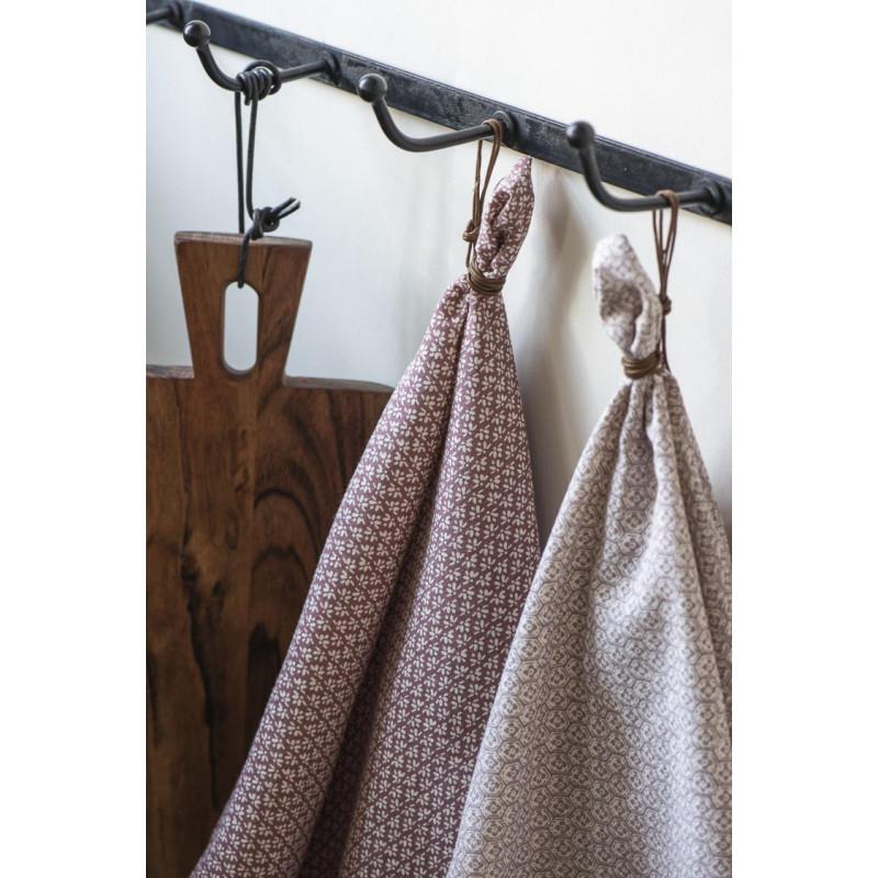 IB Laursen Geschirrtuch Desert Rose mit Muster Weiss 50x70 cm aus Baumwolle mit kleinen Aufhänger Schlaufe