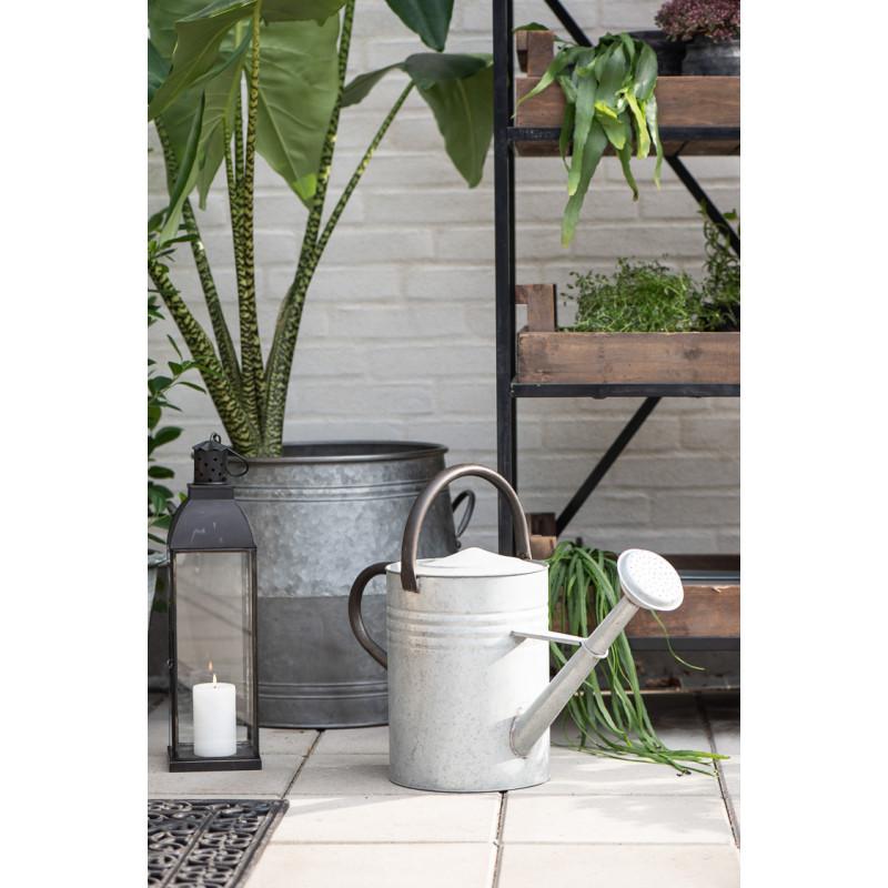 IB Laursen Gießkanne aus Zink Grau 11 Liter Füllmenge mit 2 Trage Griffen für die Terrasse und Garten dekorativ