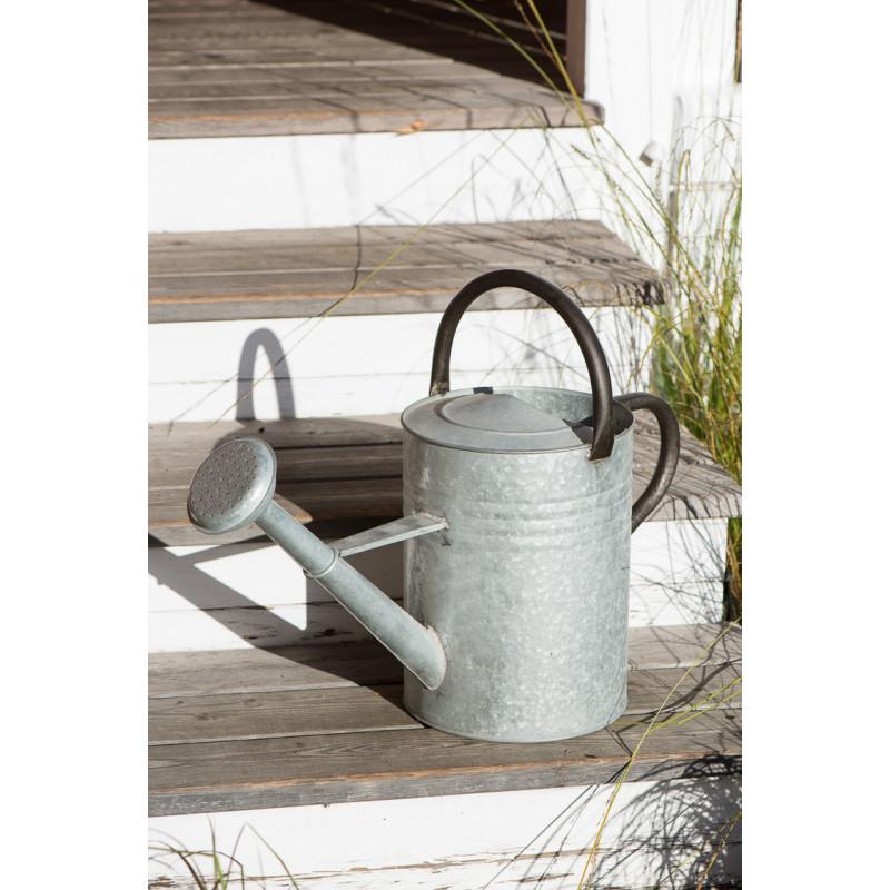 IB Laursen Gießkanne aus Zink Grau 11 Liter mit 2 Griffen Schwarz 44 cm hoch Garten Deko mit integrierter Brause