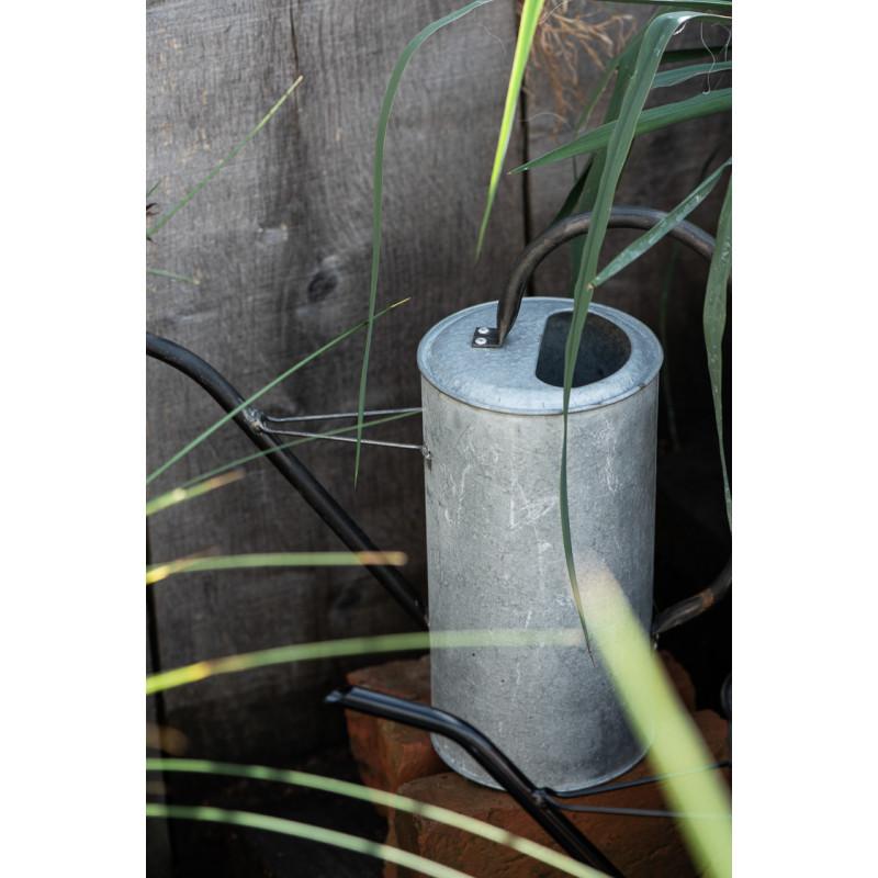 IB Laursen Gießkanne Zink Grau 2,7 Liter mit Griff aus Metall Schwarz Garten Dekoration mit Funktion
