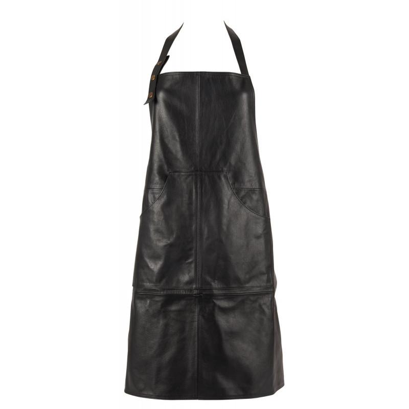 IB Laursen Grillschürze schwarz BBQ Küchenschürze aus Leder zum Grillen