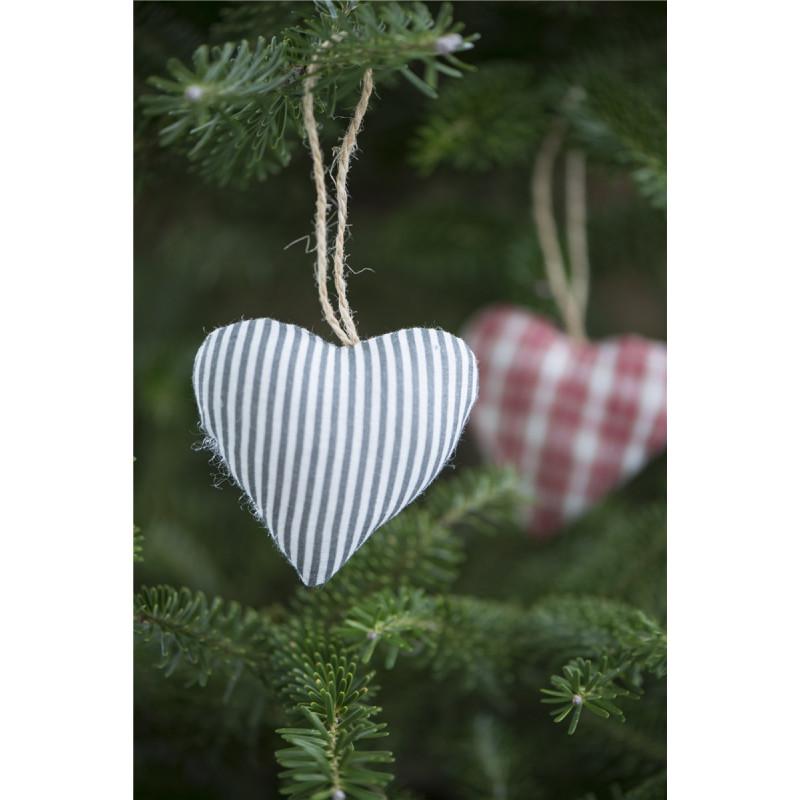 IB Laursen Herz My Nostalgie Christmas Baumwolle grau Weihnachtsdeko Anhänger