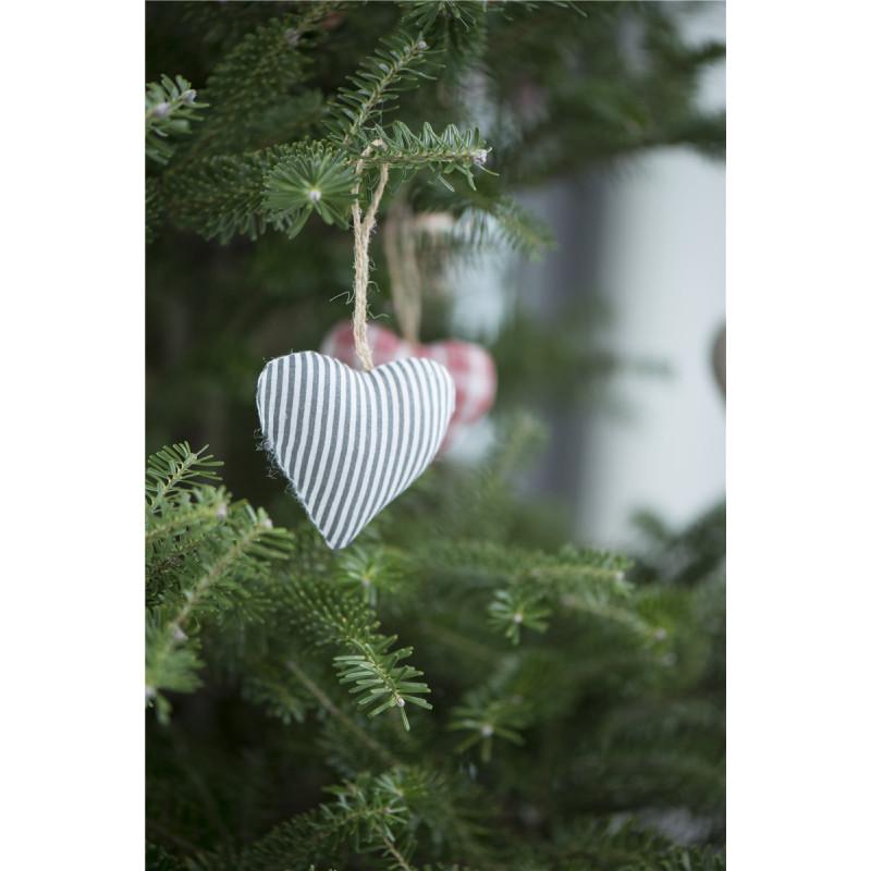 IB Laursen Herz My Nostalgie Christmas grau Streifen Deko Weihnachten