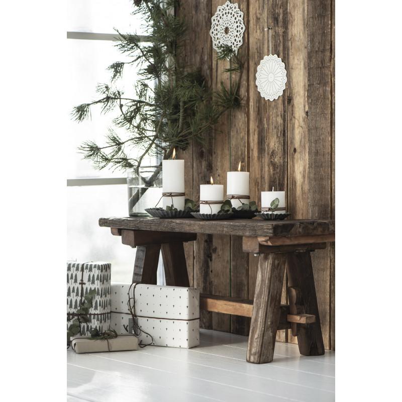 IB Laursen Holzbank mit Kerzenständer Kerzentablett Grau Metall Kerzenhalter 11 13 16 und 19 cm groß Kerzenteller Weihnachstdeko
