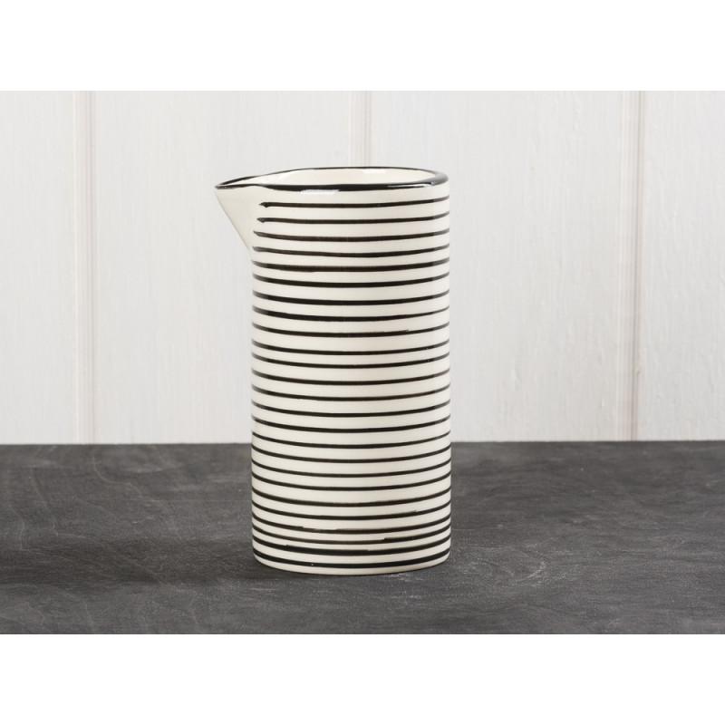 IB Laursen Kanne Casablanca Streifen schwarz klein für 0,2 Liter Keramik Kollektion Milchkännchen