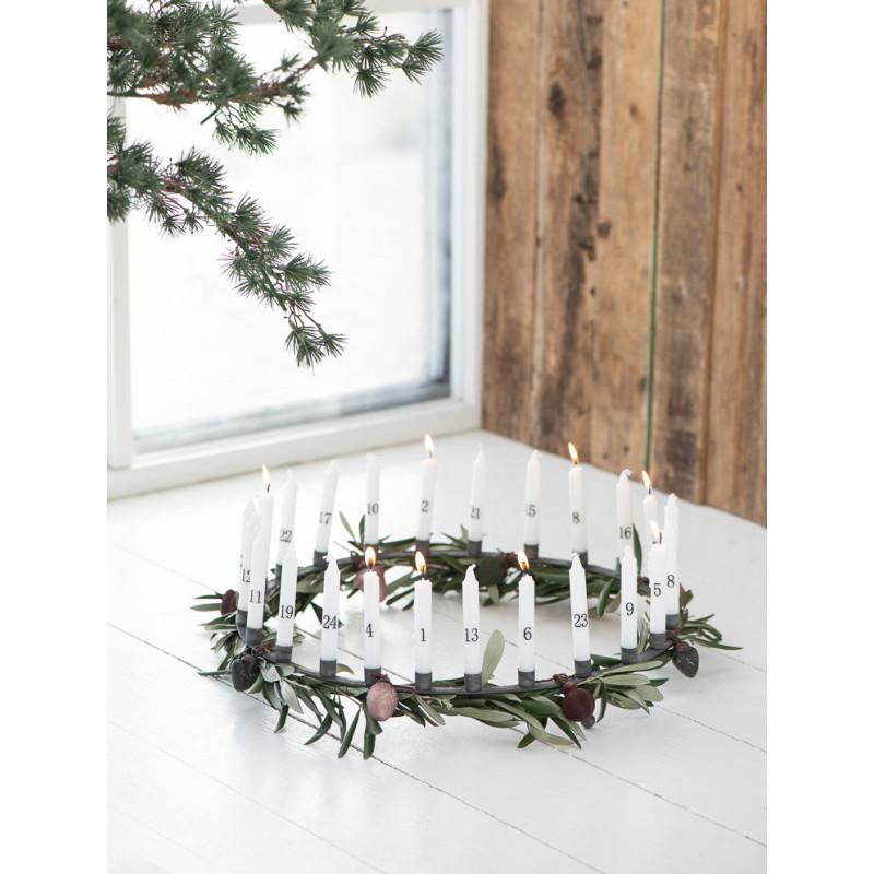 IB Laursen Kerzenhalter Adventskranz Weihnachtsdeko aus Metall Grau Geschenk Kerzenständer für 24 Kerzen