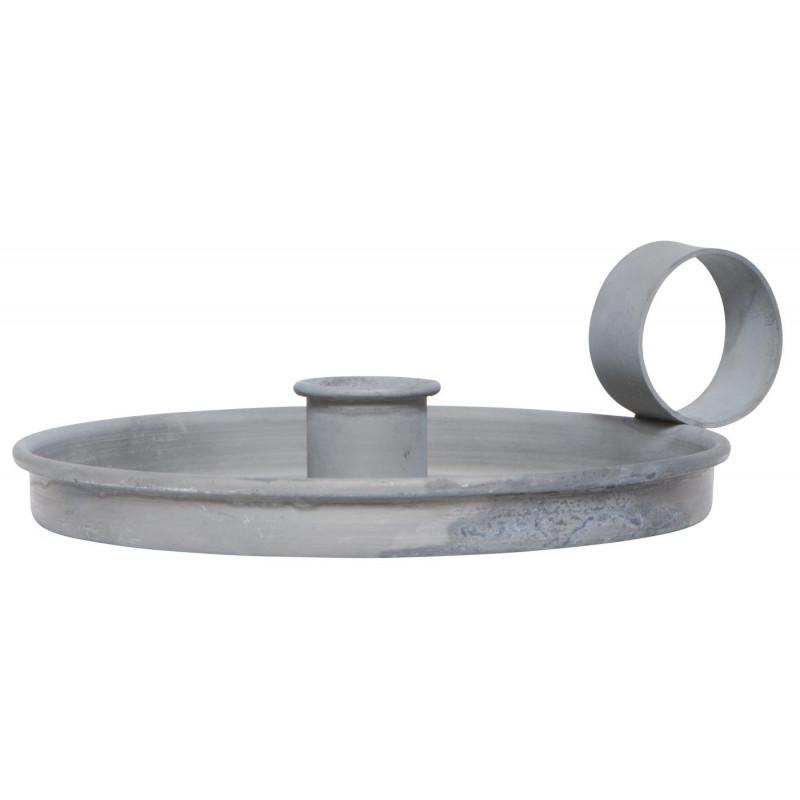 IB Laursen Kerzenhalter Kammerleuchte grau aus Metall mit Griff Weihnachtsdeko