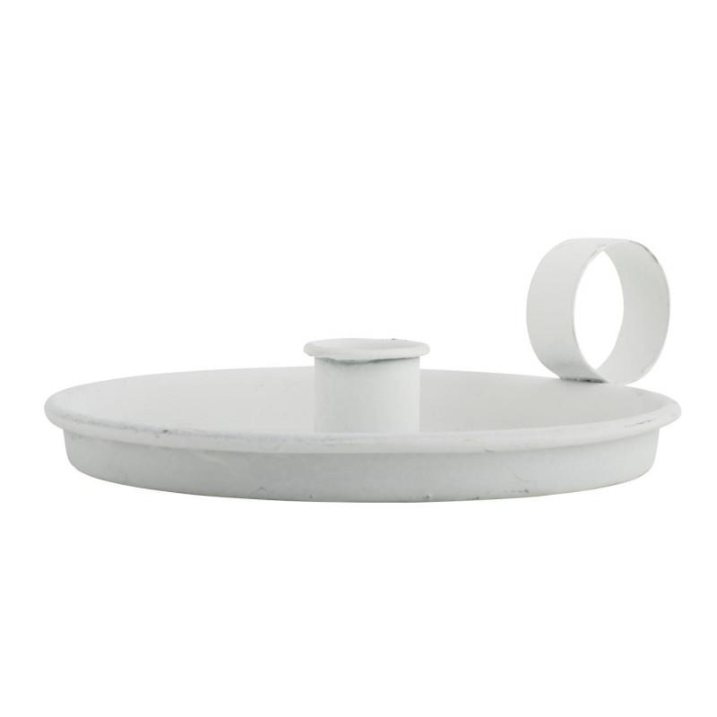 IB Laursen Kerzenhalter Kammerleuchte weiß aus Metall mit Griff Weihnachtsdeko