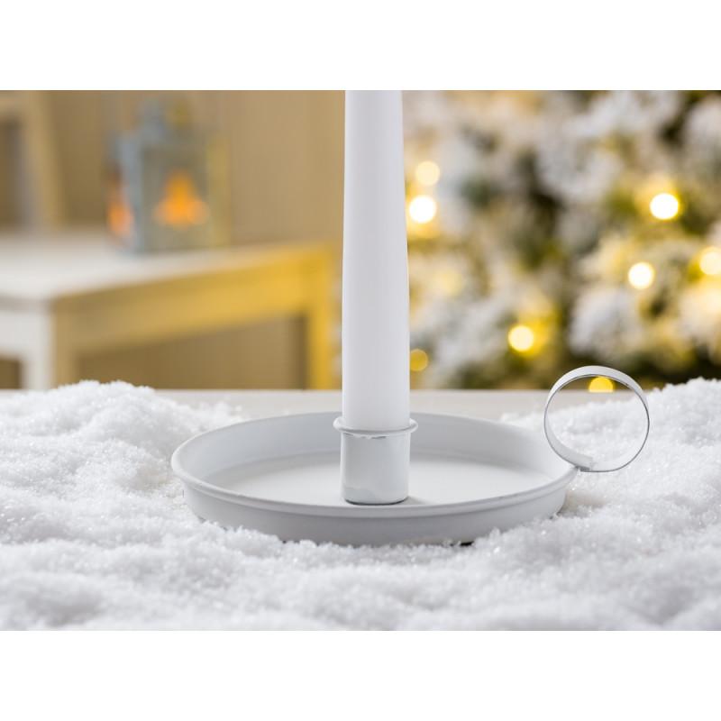 IB Laursen Kerzenhalter Kammerleuchte weiß aus Metall mit Henkel Tragegriff