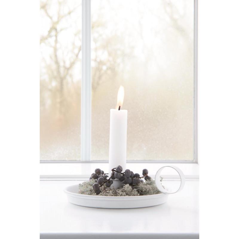 IB Laursen Kerzenhalter Kammerleuchte weiß runder Kerzenständer Griff mit Kerze und Weihnachtsdeko