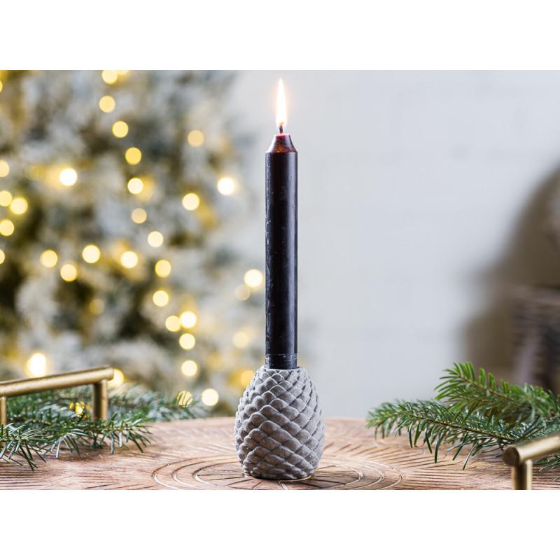 IB Laursen Kerzenhalter Zapfen grau Kerzenstaender Tannenzapfen aus Beton Advents und Weihnachtsdekoration Dekoidee