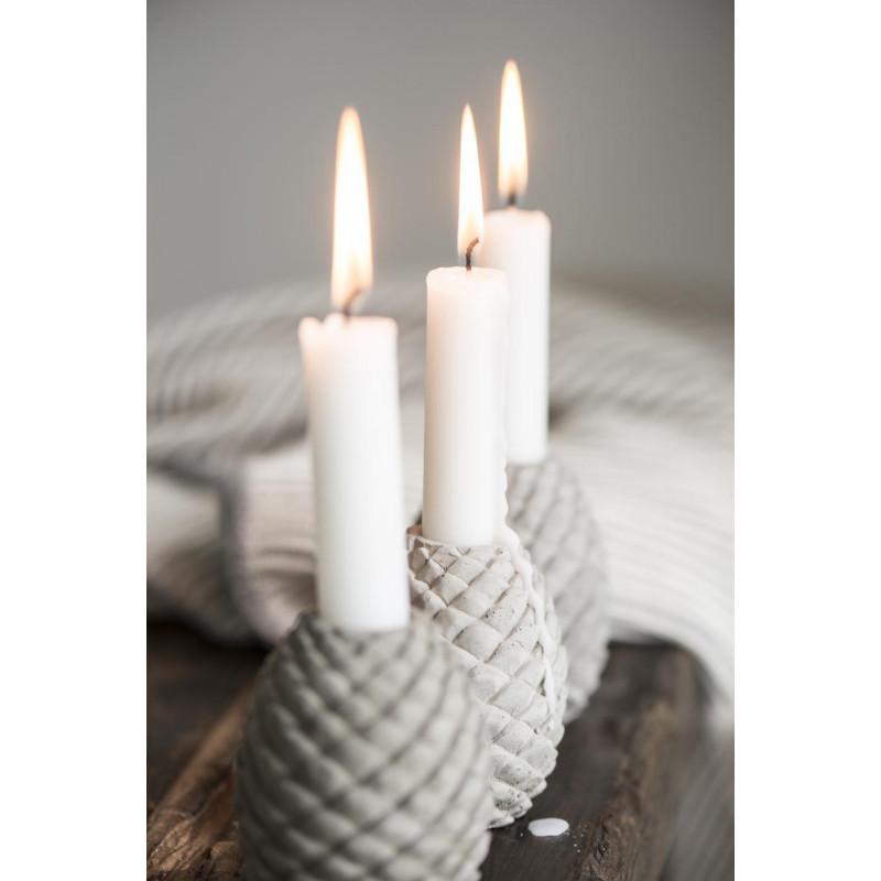 IB Laursen Kerzenhalter Zapfen grau Kerzenständer Tannenzapfen aus Beton Adventsdekokoration