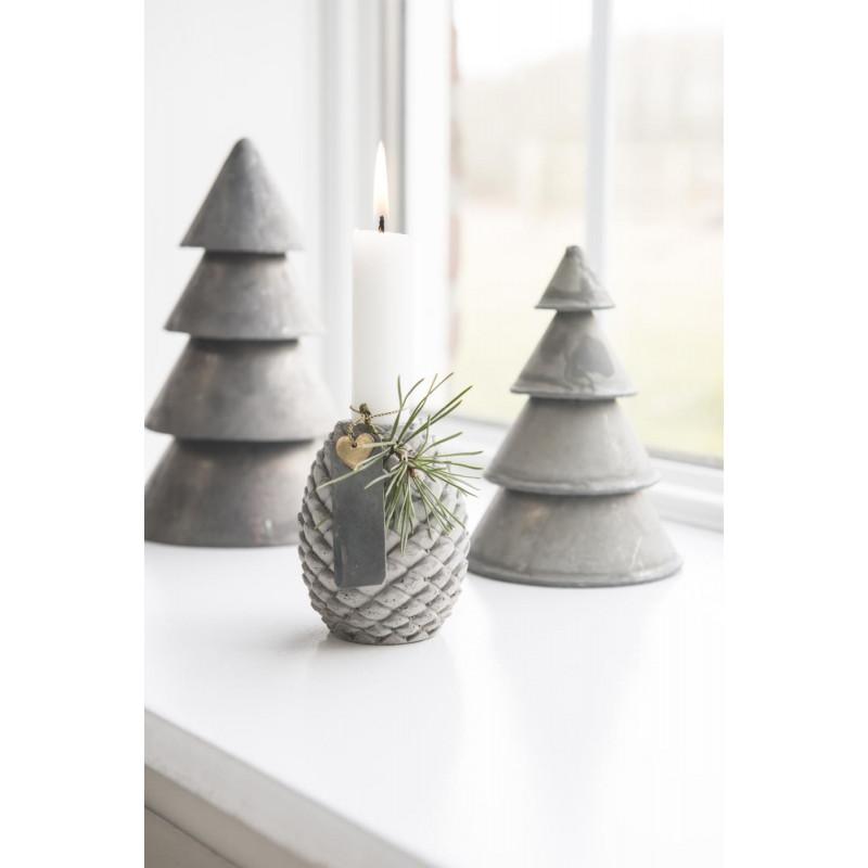 IB Laursen Kerzenhalter Zapfen grau Kerzenständer Tannenzapfen und Weihnachtsbäume aus Beton