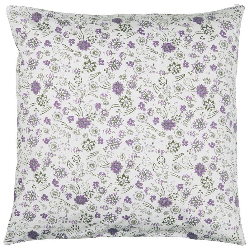 IB Laursen Kissen 50x50 Weiss Kissenhülle mit Blumen Lavendel Muster Baumwolle Kissenbezug Modell 1915 11