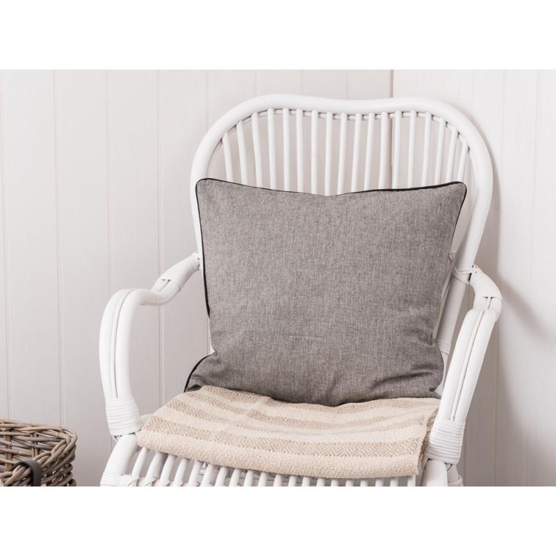 IB Laursen Kissen grau einfarbig mit Keder in schwarz Kissenbezug aus Baumwolle 50 x 50 cm