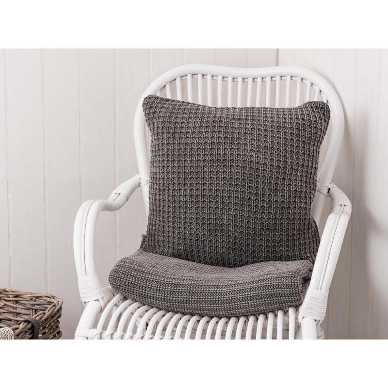 IB Laursen Kissen grau Kissenbezug gestrickt aus Baumwolle dunkelgrau 50 x 50 cm