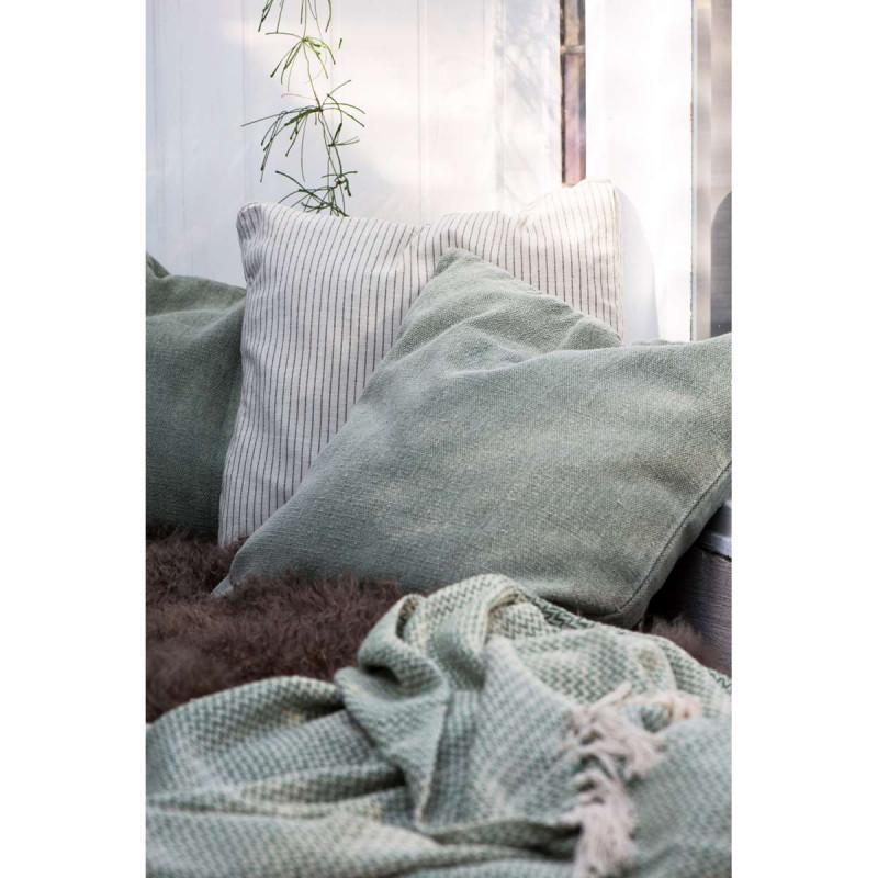 IB Laursen Kissenbezug hellgrün und Plaid grün Zick Zack Muster Baumwolle Kissen weiß schwarz gestreift