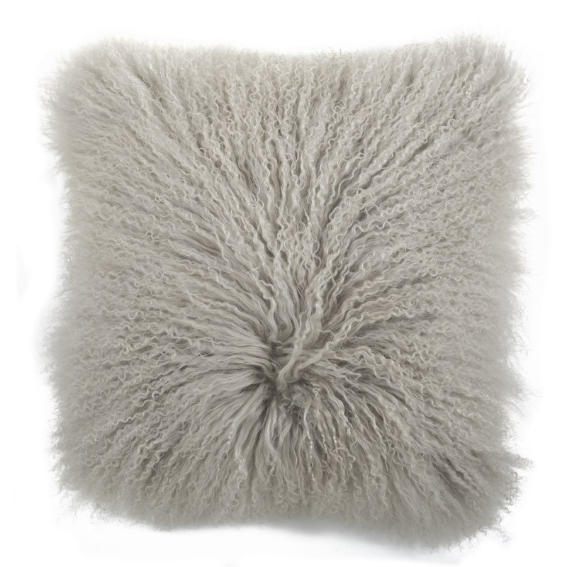 IB Laursen Kissenhülle tibetisches Lammfell grau 45x45 Fellkissen