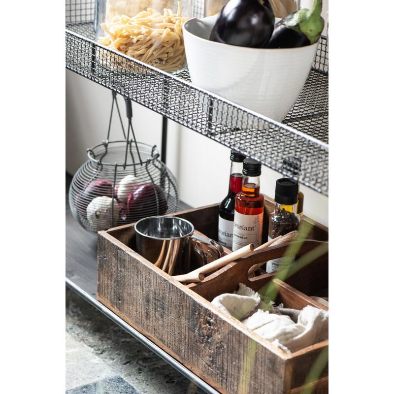 IB Laursen Kiste UNIKA 4 Fach Unterteilt mit Henkel Holzkiste 50x35 cm mit Küchen Utensilien und Vorrat