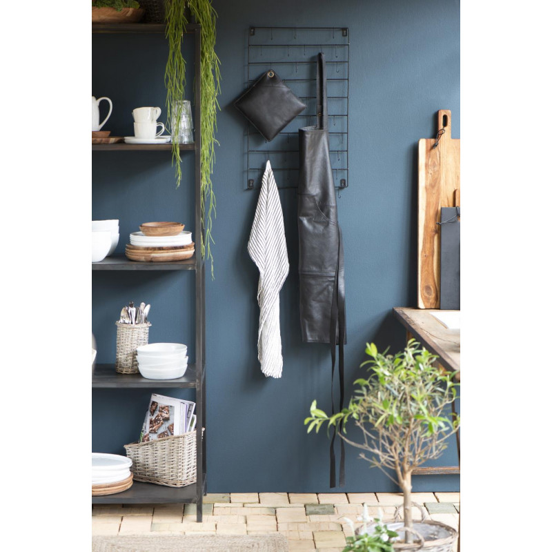 IB Laursen Küchenschürze Leder schwarz und BBQ Topflappen zum Grillen