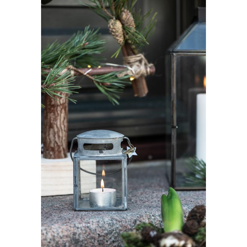 IB Laursen Laterne Klein Grau in Zink Optik Windlicht Dekoration Winter Weihnachten