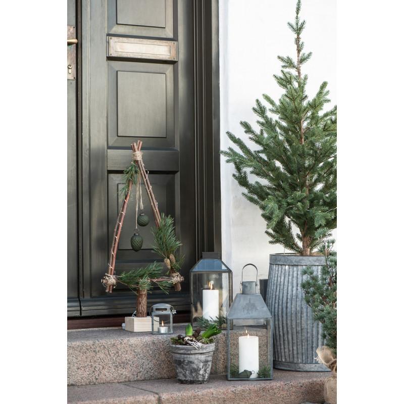 IB Laursen Laterne Klein Grau in Zink Optik Windlicht Haustür Dekoration Winter Weihnachten