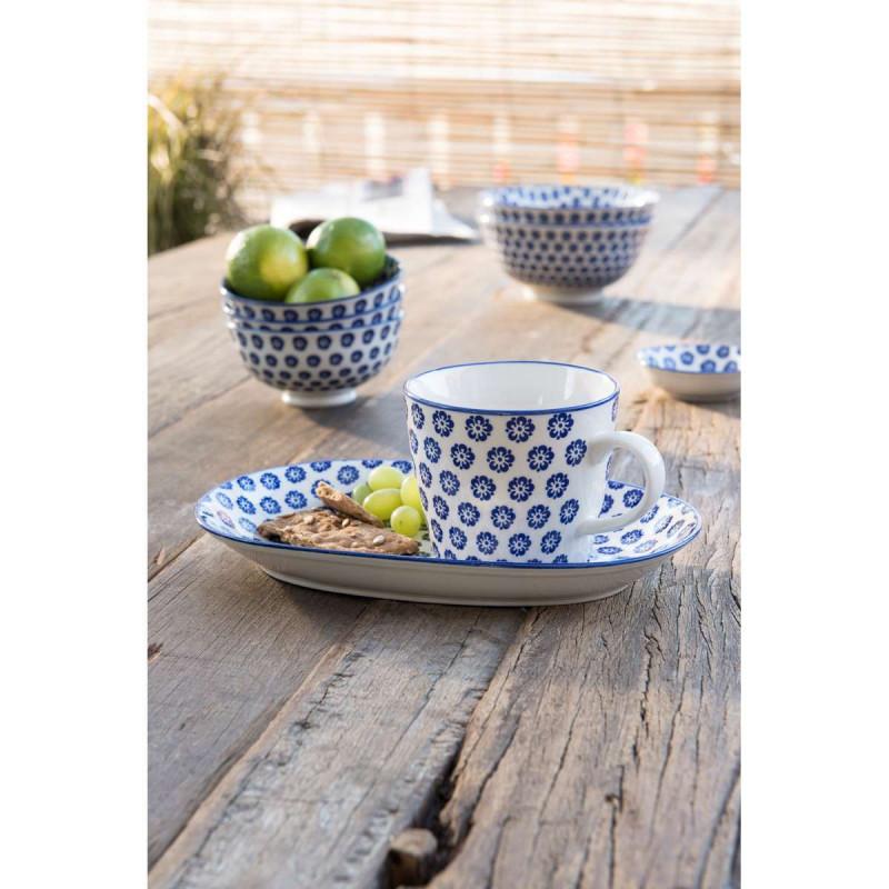 IB Laursen Liva Tasse mit Teller oval Schale Mini klein und groß mit Blumenmuster blau