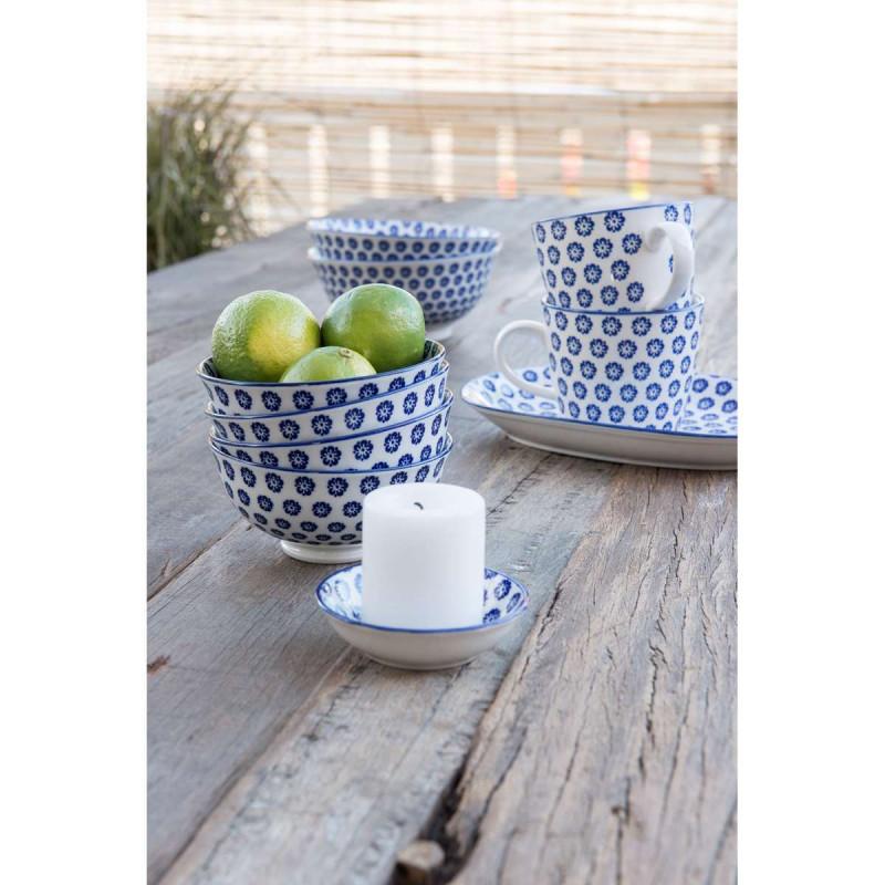 IB Laursen Liva Schale Mini als Kerzenständer Schale groß klein Tasse und Teller oval mit Blumen Muster blau
