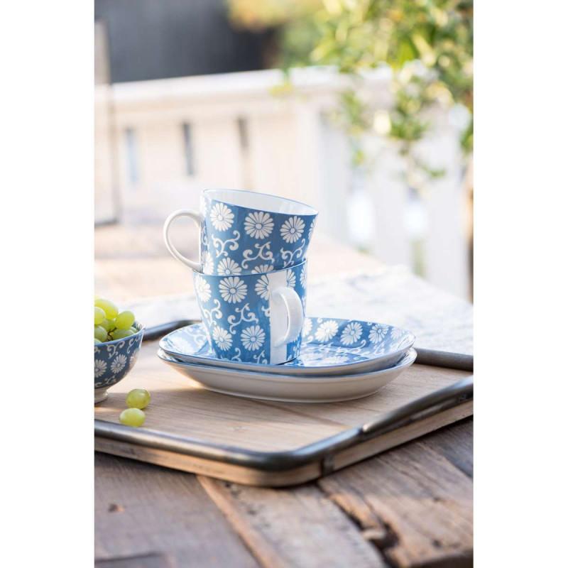 IB Laursen Liva Porzellan Geschirr Tasse und Teller oval in Staubig blau mit Blumen