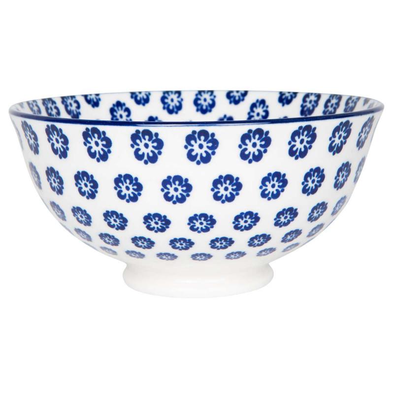 IB Laursen Liva Schale klein mit Blumen Muster blau
