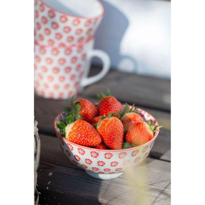 IB Laursen Liva Schale klein mit Blumen Muster rot mit Erdbeeren Und Henkel Becher
