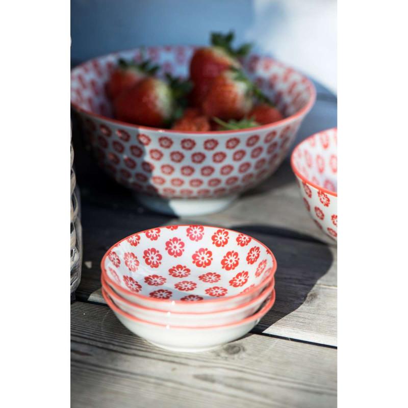 IB Laursen Liva Schale Mini mit Blumen Muster rot und Schale groß mit Erdbeeren
