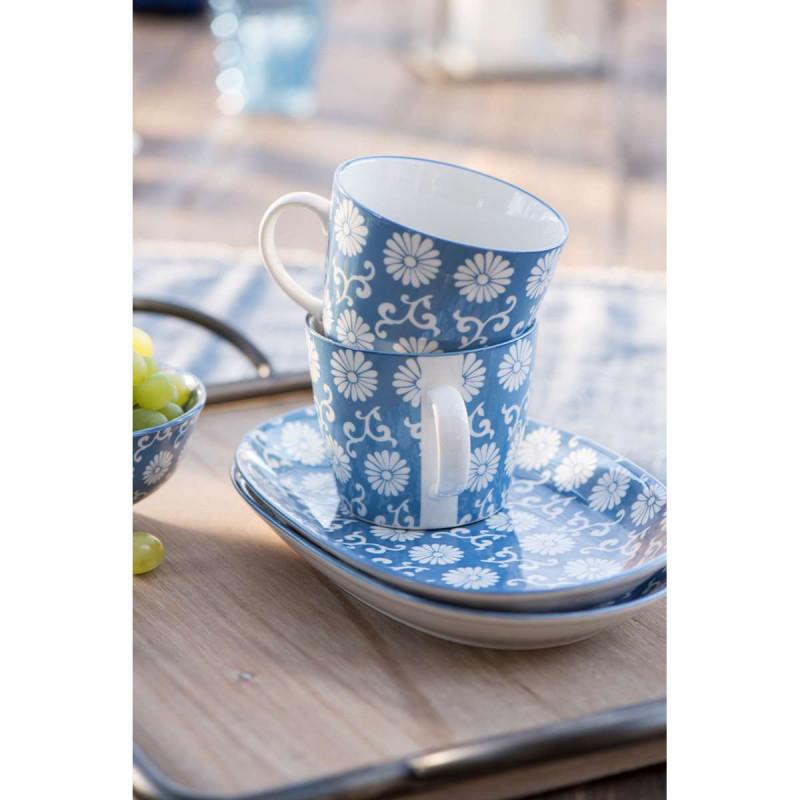 IB Laursen Liva Tasse und Teller Blumen Muster staubig blau
