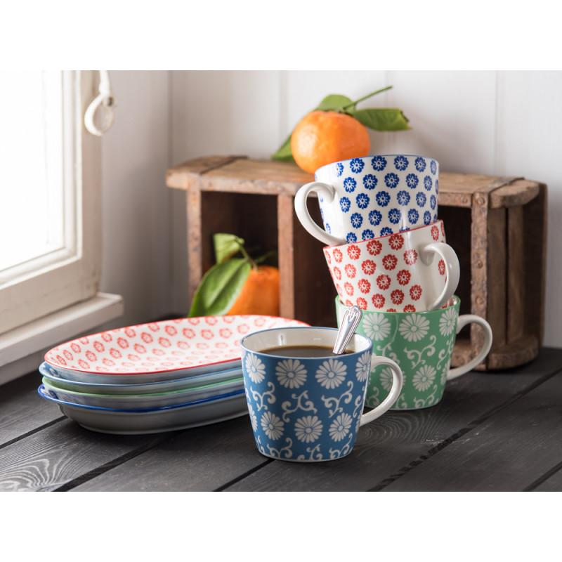 IB Laursen Liva Teller oval Becher mit Henkel rot staubig blau grün Tasse mit Blumen