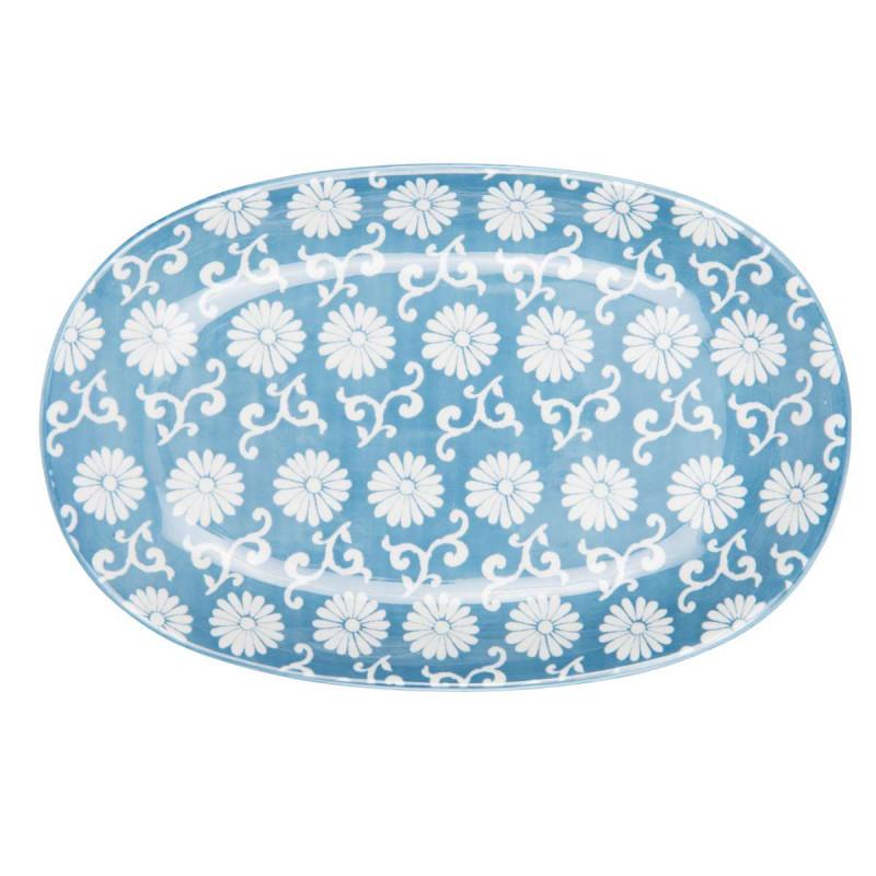 IB Laursen Liva Teller oval Blumen Muster staubig blau