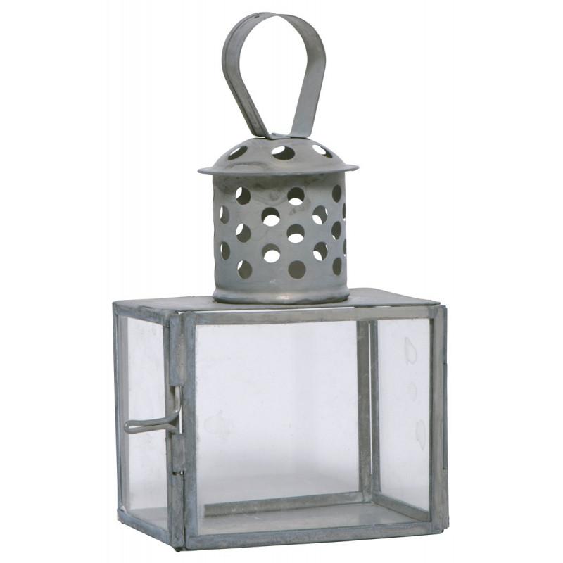 IB Laursen Metall Laterne Mini grau Zink Optik